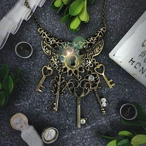 Lock Key Bib Statement Necklace Steampunk Vintage